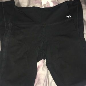 pink black leggings with side pockets size small